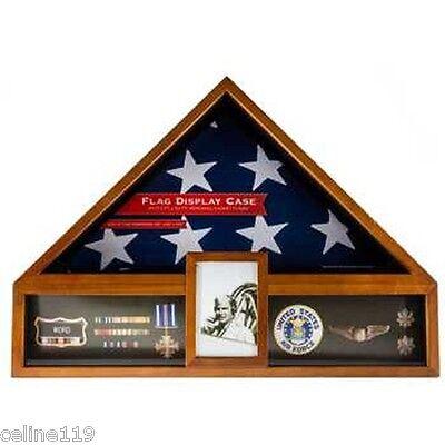 AMERICAN FLAG DISPLAY CASE OAK VETERAN MILITARY DISPLAY BOX FUNERAL BURIAL FLAG