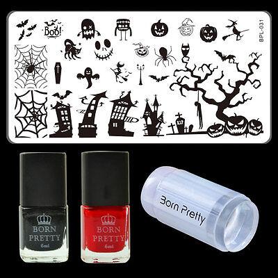 4pcs/set Halloween Theme Nail Art Stamping Polish & Stamping Plate & Stamper Set - Halloween Nail Polish Set