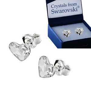 925 Sterling Silver Stud Earrings Flat Heart Clear 6mm Crystals From Swarovski