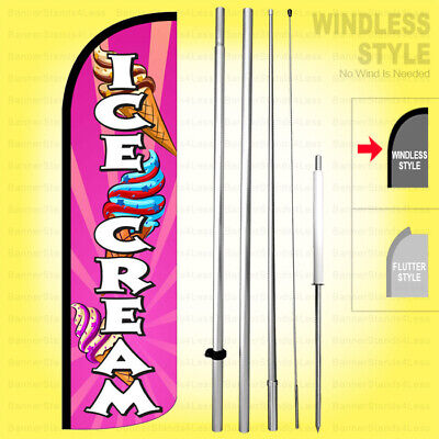 Ice Cream - Windless Swooper Flag Kit 15 Tall Feather Banner Sign Pq-h