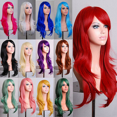 Curly Wavy Full Wigs (Lady Fashion 70cm Full Curly Wigs Cosplay Costume Anime Party Hair Wavy Long Wig )