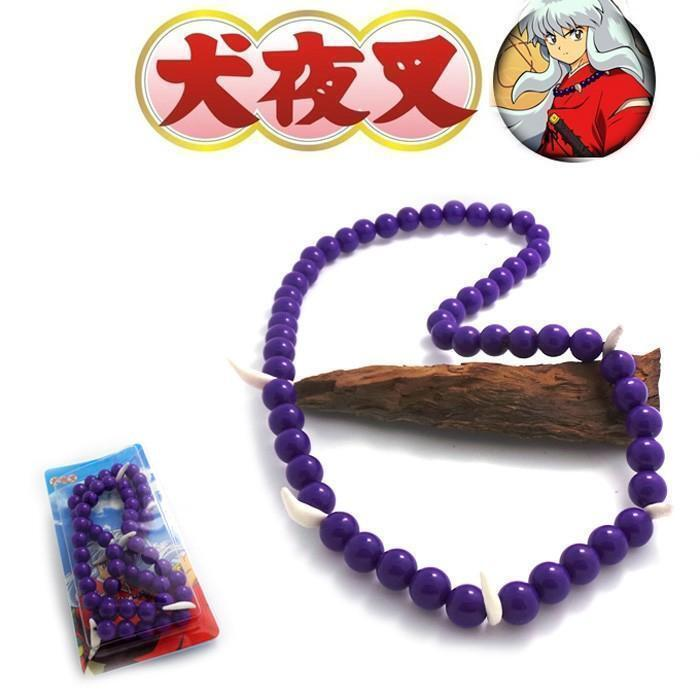Anime Inuyasha Beaded Bracelet Necklace Charm Pendant Purple