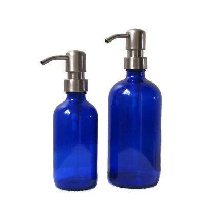 Cobalt Blue Glass Soap Dispenser Set 16oz and 8oz with Stainless Steel Soap Pump Cobalt Blue Glass Pump