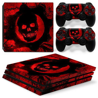 Sony PS4 PlayStation 4 Pro Skin Sticker Screen Protector Set - Red Skull Motif
