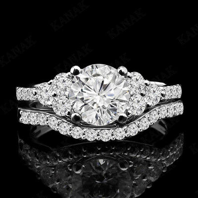 1.75 ct Diamond 10k White Gold Solitaire with Accent Bridal Set Engagement (Diamond Accent Bridal Set)