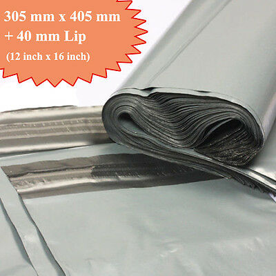 50 Large Size 12 x 16 Grey Mailing and Packaging Plastic Bags