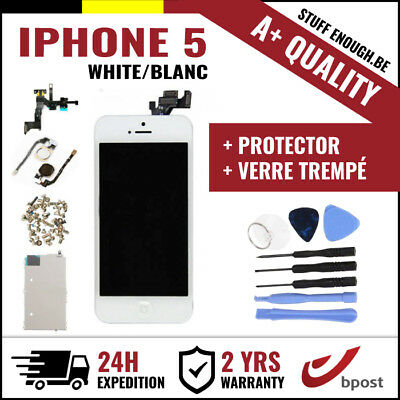 A+ LCD SCREEN SCHERM ÉCRAN ASSEMBLY WHITE BLANC+TOOLS&VERRE TREMPÉ FOR IPHONE 5
