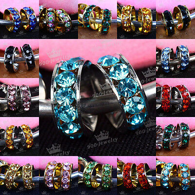 New Style Rondelle Crystal Silver European Spacer Bead For Charms Bracelet (Crystal European Style Beads)