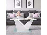Tiffany Glass Top Coffee Table in White High Gloss