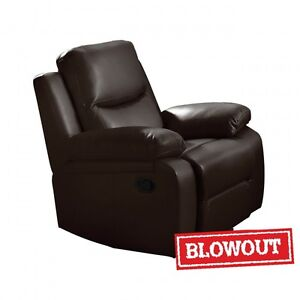 Reclining Chair - Available in Dark Brown or Black Leatherette
