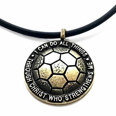 Phil 4:13 Soccer Necklace Brass On Black Rubber with Extender (SP8B)  - Soccer Necklaces