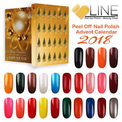 VB™ Line Kids 24 Peel Off Nail Polish Advent Calendar New Year Merry Christmas-@