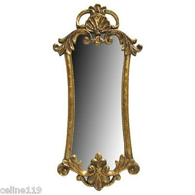 "Ornate Antique Style Vintage Gold Gilt Rococo Baroque Mirror 32"" L X 15"" W"