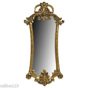 Ornate Antique Style Vintage Gold Gilt Rococo Baroque Mirror 32 3/4