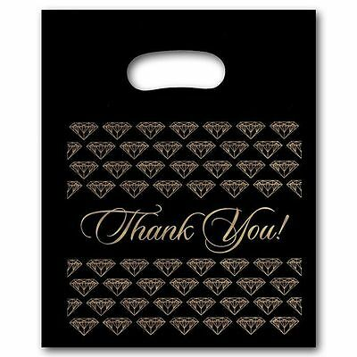100 Small Black Thank You Merchandise Plastic Retail Handle Bags 7 X 9 Tall