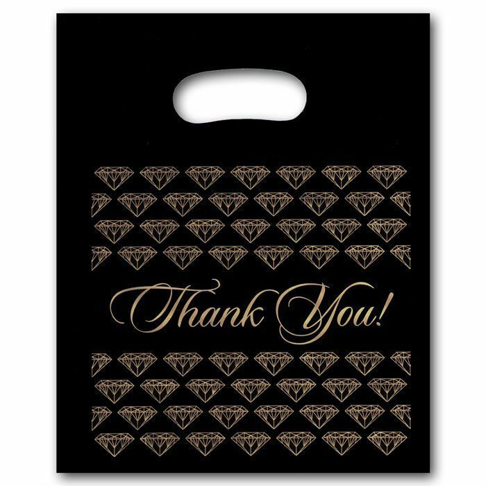 """100 Large Black Thank You Merchandise Plastic Retail Handle Bags 12"""" x 15"""" Tall"""