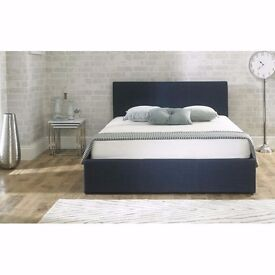 Stirling Fabric Ottoman Bed Blue Small Double 4ft