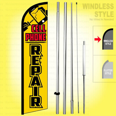 Cell Phone Repair - Windless Swooper Flag Kit 15 Feather Banner Sign Yf-h