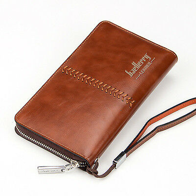 Men's Leather Zip Clutch Business Long Wallet Purse Credit Card Holder Checkbook