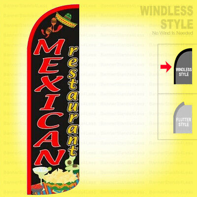 Mexican Restaurant - Windless Swooper Flag 3x11.5 Ft Feather Banner Sign Kq