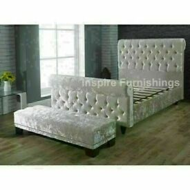 🍃SALE END SOON🍃DOUBLE/KING SIZE CRUSH VELVET SLEIGH BED FRAME w OPT MATTRESS🍃AVAIL THIS OFFER🍃