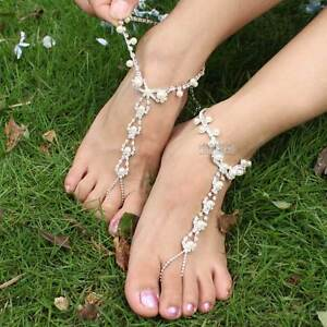 1 PAIR CHARMING BAREFOOT SANDAL FAUX PEARL JEWELLERY ANKLET WEDDING FOOT THONG