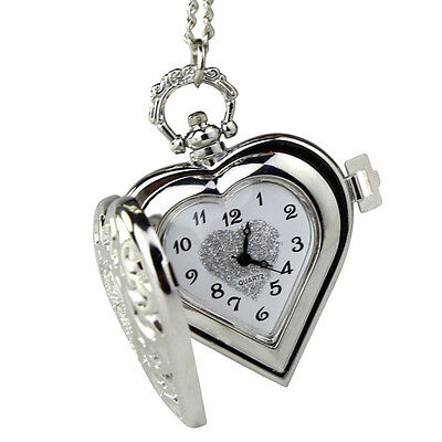 Vintage Steampunk HEART Harry Potter Locket Style Pendant Pocket Watch Necklace