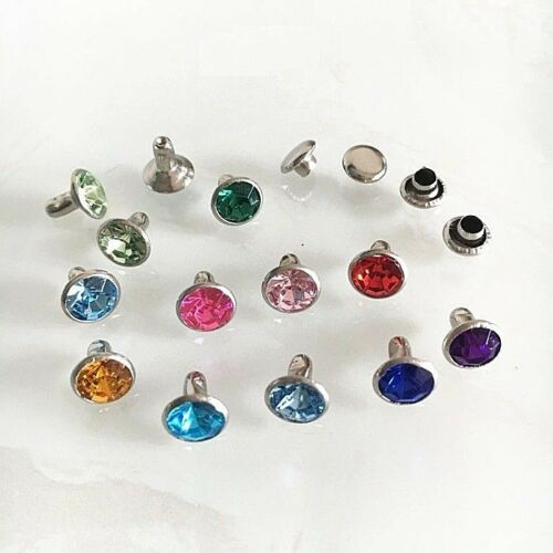 "PKG of 20 COLORED JEWEL Metal Rivet Studs 5/16"" (8mm) Leather Crafts (1142)"