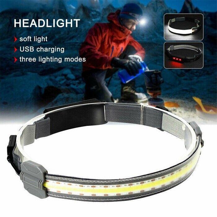 Super Bright COB LED Headlight Strip Headlamp Outdoor Headlamp Torch For Camping