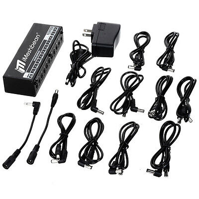 US 10CH Guitar Pedal Board Effect Power Supply Isolated Output 9v 12v 18v