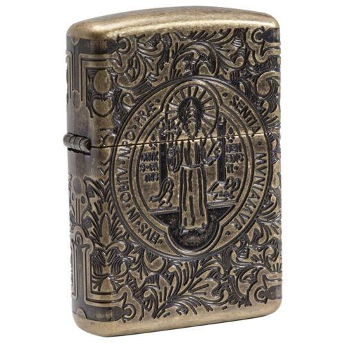 "Zippo 29719, ""St. Benedict"" Antique Brass Armor Lighter, Multi-Cut"