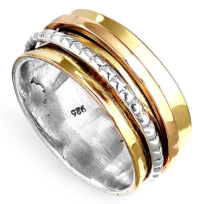 Solid 925 Sterling Silver Spinner Ring Golden Spinning Wide Band Men's Women's ()