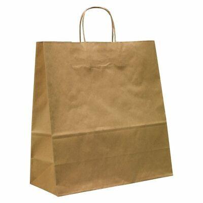 Morplan, Brown Matt Kraft Paper Carrier Bags - Medium - 35 x 36 x 14, Pack of 50
