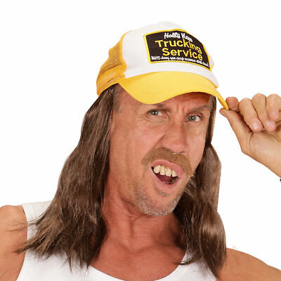 Hut Trucker mit Haar, gelb Kostümzubehör Perücke 80s Vokuhila - Gelb Hut Kostüm
