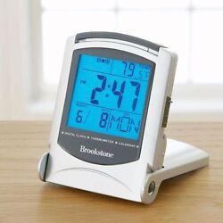 Brookstone Bright Backlight Travel Alarm Clock With Temperature