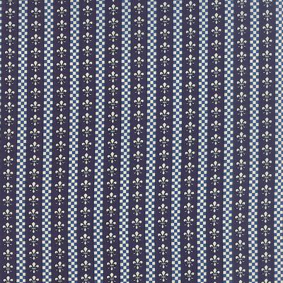 Fleur Stripe - Blue Fleur de lis Stripe Loraine #86-22 American Jane Moda Fabric by the 1/2 yrd