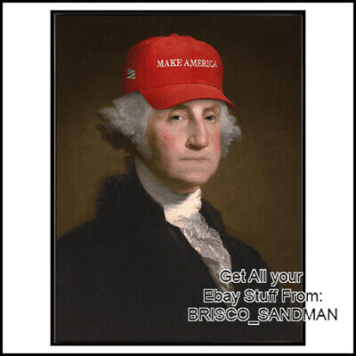 Fridge Fun Refrigerator Magnet DONALD TRUMP George Washington MAGA Red Hat - Hat Refrigerator Magnet
