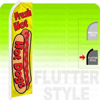 Fresh Hot Dogs - Swooper Flag Banner Sign 2.5x11.5 Flutter Style Yf