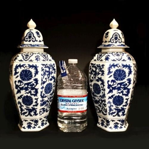 "Chinoiserie ginger jars. Japanese temple jars. Blue and white. 20"" height."