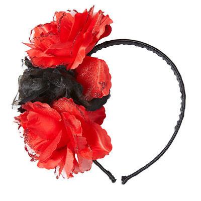 Haarreif mit Rosen Schwarz Rot Halloween Kostümzubehör Tag der Toten Verkleidung