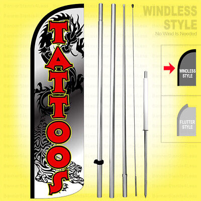 Tattoos Windless Swooper Flag Kit 15 Feather Banner Sign Dragon Wq-h