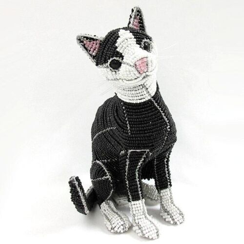 Sherman the Sitting Cat Glass Beaded Sculpture