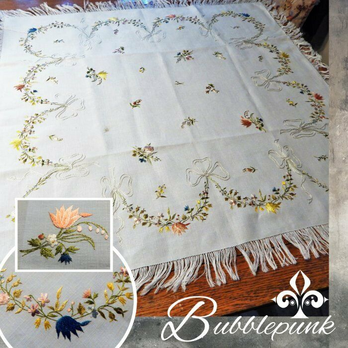 Antique Vintage Hand Embroidered Silk Thread Linen Tablecloth Dresden Inspired