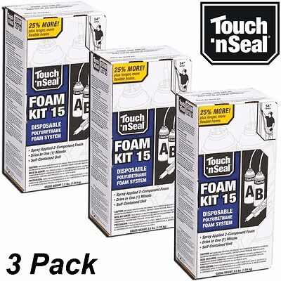 Touch N Seal Diy Spray Foam Insulation Kit 15 Bf Closed Cell - Qty 3 Full Kits