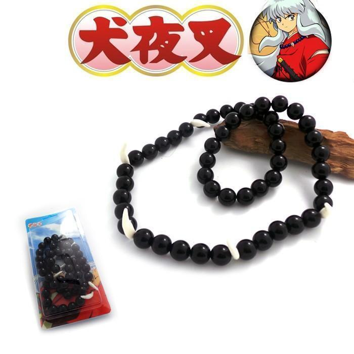 Anime Inuyasha Beaded Bracelet Necklace Charm Pendant Black