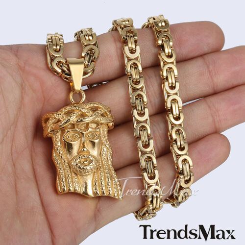Mens Gold Byzantine Necklace: 6mm MENS Chain Silver/Gold Jesus Head Byzantine Stainless