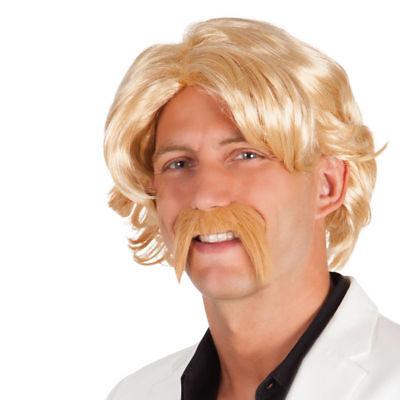 Perücke und Schnurrbart 80s-Moderator blond, Herrenperücke Kostümperücke - Blonde Schnurrbart Kostüm