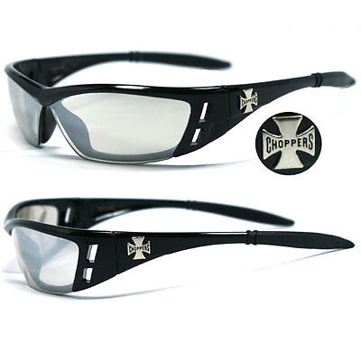 92cf5ca414e Choppers Motorcycle Day Driving Riding Glasses UV400 - Clear Mirror C46