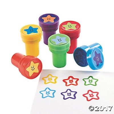6 Star Smile Happy Face Self Ink Stampers Stamps Kids Birthday Party Favors