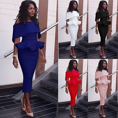 Damen Knielang Pencil Tunika Kleid Rüschenkleider Party Ball Abendkleid GR.36-46 online kaufen